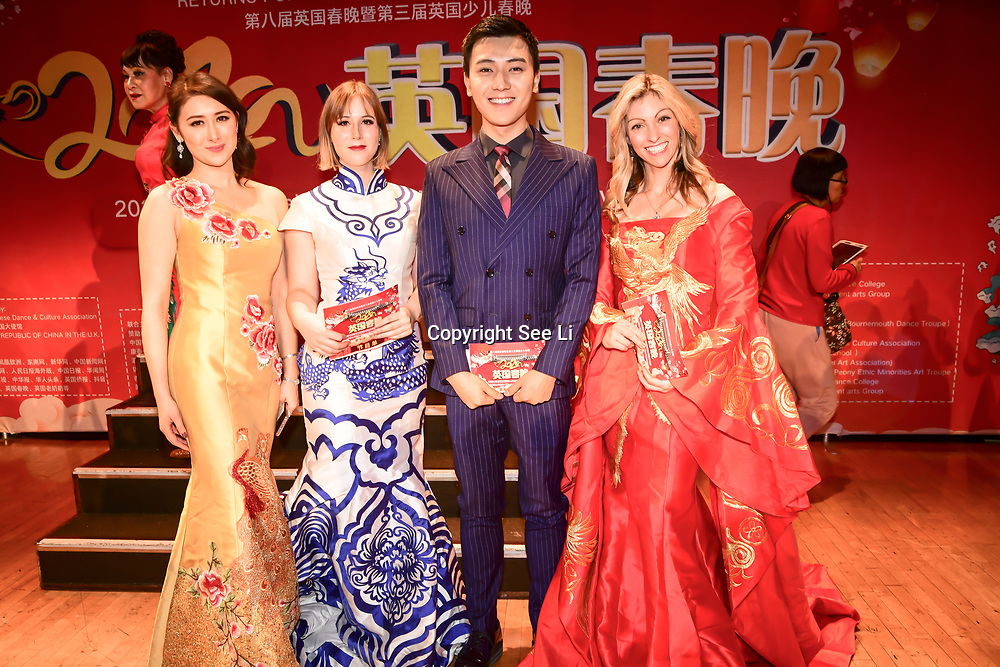 Presenter Isabella Lei-Carter,Katharina Kempf, Zepeng Li and Lucy Fletcher of the 2020 China-Britain Chinese New Year Extravaganza with 200 performers from over 20 art groups from both China and the UK showcase at Logan Hall on 18th January 2020, London, UK.