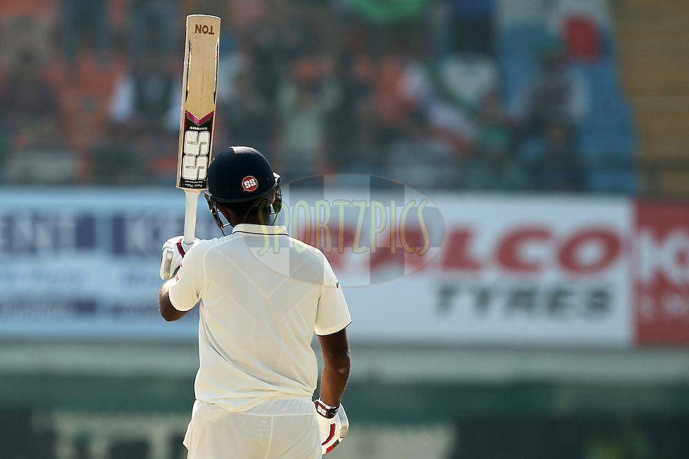 Jayant Yadav of India celebrates his half century during day 3 of the third test match between India and England held at the Punjab Cricket Association IS Bindra Stadium, Mohali on the 28th November 2016.Photo by: Prashant Bhoot/ BCCI/ SPORTZPICS