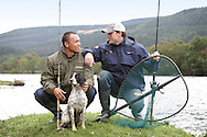 Bryan Clay and Jeremy Campbell are accustomed to competing in front of tens of thousands of spectators in some of the world's greatest sporting arenas, but today the American athletic stars were the picture of relaxation as they indulged in a spot of fishing on the banks of the River Tay.. .Clay, the reigning Olympic decathlon champion, and Campbell, who scooped gold in the pentathlon and discus at the 2008 Paralympics in Beijing, were staying at the East Haugh Hotel, Pitlochry, at the weekend  as part of a drive to promote UK tourism ahead of next year's 2012 London Olympic Games.. .The two athletes, whose tour of Scotland has been organised by VisitScotland and VisitBritain in co-operation with the U.S. Olympic Committee, were in Pitlochry as part of Team USA: Britain Bound. The athletes will document their tour of Scotland, including their visit to Perthshire, through images, video and blogs posted on www.TeamUSA.org/BritainBound.. .Pic shows Bryan and Jeremy with Tilly the dog