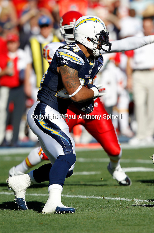 San Diego Chargers running back Ryan Mathews (24) runs the ball during the NFL week 14 football game against the Kansas City Chiefs on Sunday, December 12, 2010 in San Diego, California. The Chargers won the game 31-0. (©Paul Anthony Spinelli)