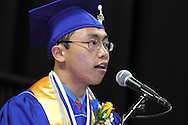 Raymundo Marcelo speaks during the 119th annual Springboro High School commencement at the Nutter Center in Fairborn, Saturday, June 2, 2012.