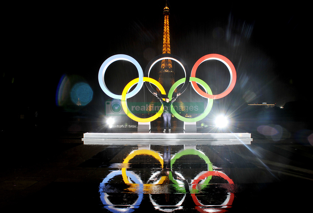 The Olympic rings are unveiled on the Trocadero square opposite the Eiffel Tower to celebrate Paris officially being awarded the 2024 Olympic Games in Paris, France, on September 13, 2017. Photo by Alain Apaydin/ABACAPRESS.COM