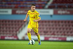 UPTON PARK, ENGLAND - Friday, September 12, 2014: Liverpool's Cameron Brannagan in action against West Ham United during the Under 21 FA Premier League match at Upton Park. (Pic by David Rawcliffe/Propaganda)