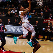 17 January 2018: San Diego State Aztecs forward Nolan Narain (24) scores on a fast break against Fresno in the first half. San Diego State leads Fresno State 40-36 at halftime at Viejas Arena. <br /> More game action at www.sdsuaztecphotos.com
