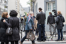 © Licensed to London News Pictures . 06/05/2017 . Paris , France . Media outside the offices of Macron's En Marche! The electorate are voting in the final round of the French election today (7th May 2017) . Emmanuel Macron's En Marche and Marine Le Pen's Front National are competing for the Presidency . Photo credit: Joel Goodman/LNP