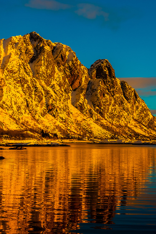 Mountains surrounding Svolvaer, on Austvagoya Island, Lofoten Islands, Arctic, Northern Norway.