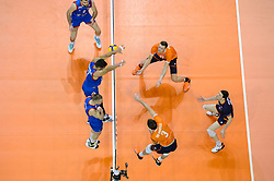 06-01-2020 NED: CEV Tokyo Volleyball European Qualification Men, Berlin<br /> Match Serbia vs. Netherlands 3-0 / Michael Parkinson #17 of Netherlands, Just Dronkers #6 of Netherlands, Maarten van Garderen #3 of Netherlands