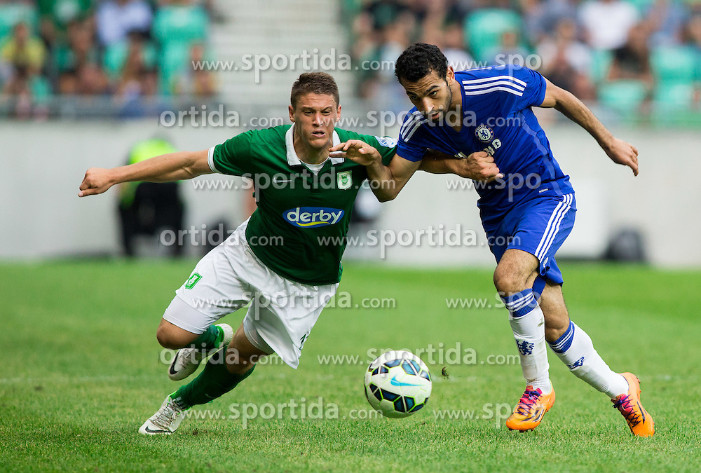 Filip Valencic #11 of NK Olimpija Ljubljana vs Mohamed Salah #17 of Chelsea FC during Preseason friendly football match between NK Olimpija Ljubljana and Chelsea FC (ENG), on July 27, 2014 in SRC Stozice, Ljubljana, Slovenia. Photo by Vid Ponikvar / Sportida.com