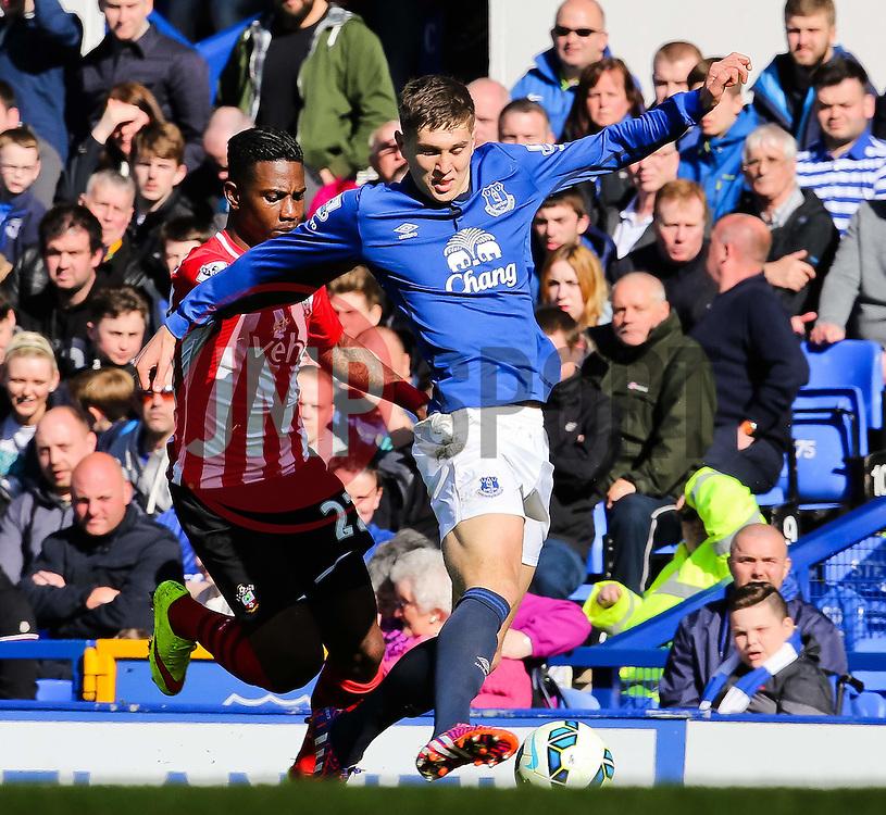 Everton's John Stones is closed down by Southampton's Eljero Elia  - Photo mandatory by-line: Matt McNulty/JMP - Mobile: 07966 386802 - 04/04/2015 - SPORT - Football - Liverpool - Goodison Park - Everton v Southampton - Barclays Premier League
