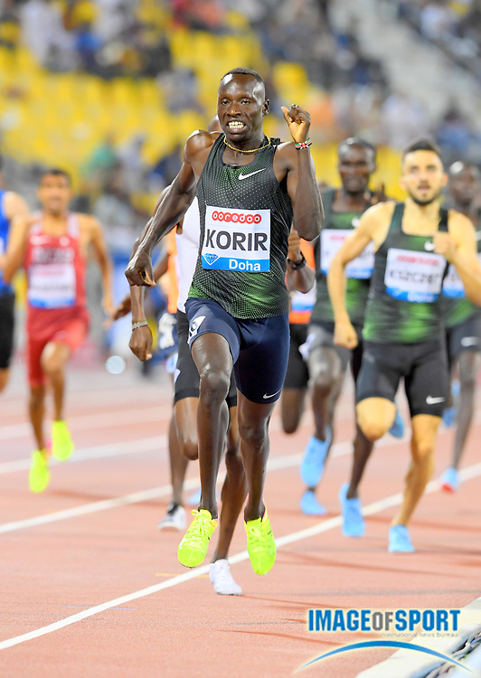 Emmanuel Kipkurui Korir aka Emmanuel Korir (KEN) wins the 800m in 1:45.21  in the 2018 IAAF Doha Diamond League meeting at Suhaim Bin Hamad Stadium in Doha, Qatar, Friday, May 4, 2018. (Jiro Mochizuki/Image of Sport)