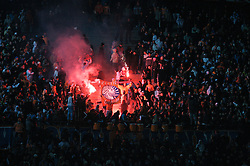 MARSEILLE, FRANCE - Tuesday, December 11, 2007: Olympique de Marseille 'Kaotic Group' supporters set off red flares during the final UEFA Champions League Group A match against Liverpool at the Stade Velodrome. (Photo by David Rawcliffe/Propaganda)