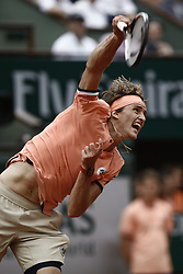 June 1, 2018 - Paris, Ile-de-France, France - Alexander Zverev of Germany in action during his mens singles third round match against Damir Dzumhur of Bosnia and Herzegovinia during day six of the 2018 French Open at Roland Garros on June 1, 2018 in Paris, France. (Credit Image: © Mehdi Taamallah/NurPhoto via ZUMA Press)