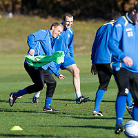 St Johnstone Training....29.10.12<br /> Steven Anderson and Dave Mackay pictured having fun in training ahead of tomorrow's Scottish Communities Cup game against Celtic.<br /> Picture by Graeme Hart.<br /> Copyright Perthshire Picture Agency<br /> Tel: 01738 623350  Mobile: 07990 594431
