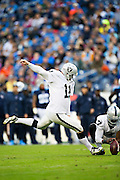 NASHVILLE, TN - NOVEMBER 29:  Sebastian Janikowski #11 of the Oakland Raiders kicks a extra point during a game against the Tennessee Titans at Nissan Stadium on November 29, 2015 in Nashville, Tennessee.  The Raiders defeated the Titans 24-21.  (Photo by Wesley Hitt/Getty Images) *** Local Caption *** Sebastian Janikowski