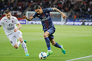 Angel Di Maria (psg), Jonathan DELAPLACE (SM Caen) during the French Championship Ligue 1 football match between Paris Saint-Germain and SM Caen on May 20, 2017 at Parc des Princes stadium in Paris, France - Photo Stephane Allaman / ProSportsImages / DPPI
