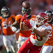 Kansas City Chiefs tight end Anthony Fasano (80) caught a bobbling 22-yard catch for a first down in the fourth quarter against the Denver Broncos in NFL action on September 14, 2014 at Sports Authority Field at Mile High in Denver, Co. The Chiefs lost 24-17.