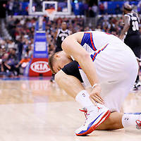 16 November 2013: Los Angeles Clippers power forward Blake Griffin (32) is seen injured during the Los Angeles Clippers 110-103 victory over the Brooklyn Nets at the Staples Center, Los Angeles, California, USA.