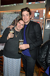 REBECCA GUINNESS and HUGO HEATHCOTE at a quiz night hosted by Zoe Jordan to celebrate the launch of her men's ZJKNITLAB collection held at The Larrick Pub, 32 Crawford Place, London on 20th April 2016.