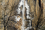 Ice-covered upper Yosemite Falls in winter, Yosemite National Park, California USA