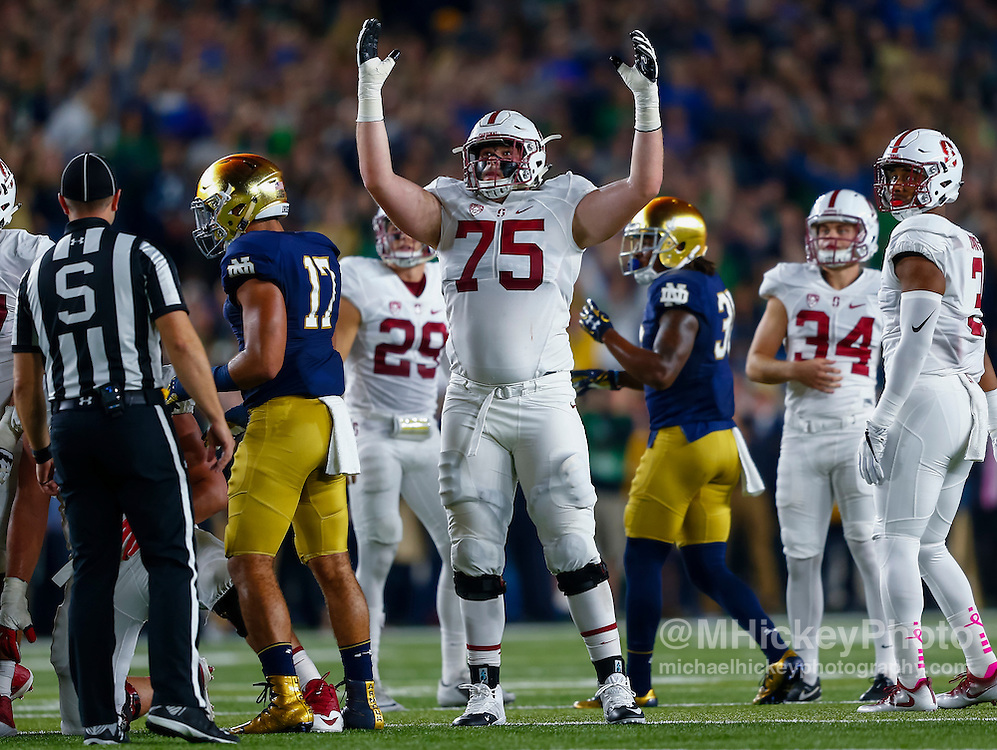 SOUTH BEND, IN - OCTOBER 15: A.T. Hall #75 of the Stanford Cardinal celebrates a field goal during the game against the Notre Dame Fighting Irish at Notre Dame Stadium on October 15, 2016 in South Bend, Indiana. Stanford defeated Notre Dame 17-10. (Photo by Michael Hickey/Getty Images) *** Local Caption *** A.T. Hall