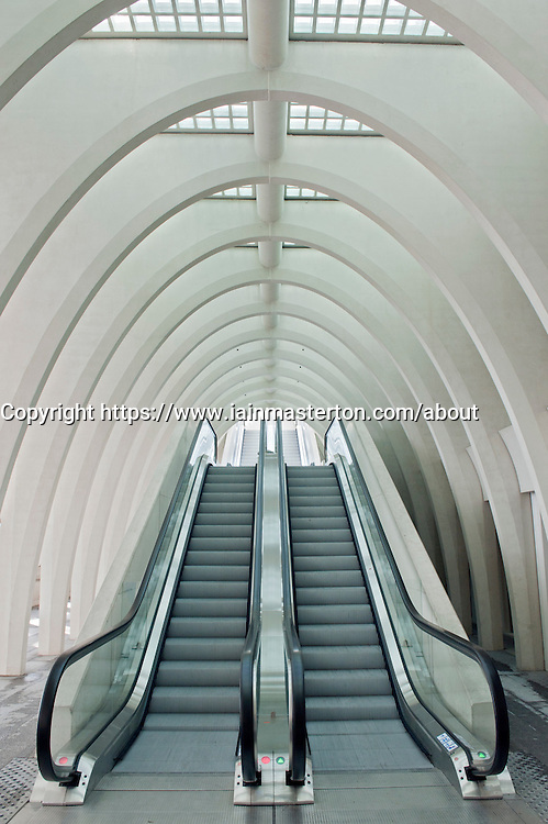 Escalators inside new Liège-Guillemins modern railway station designed by architect Santiago Calatrava  in Liege Belgium