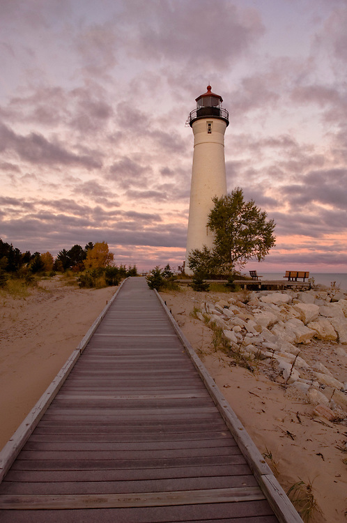 The Crisp Point Lighthouse at Crisp Point on Lake Superior near Newberry Michigan.
