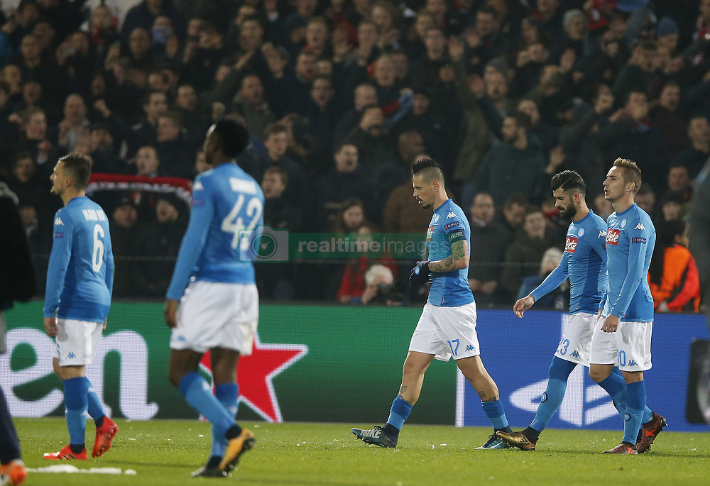 Mario Rui of SSC Napoli, Amadou Diawara of SSC Napoli, Marek Hamsik of SSC Napoli, Elseid Hysaj of SSC Napoli, Piotr Zielinski of SSC Napoli during the UEFA Champions League group F match between Feyenoord Rotterdam and SSC Napoli at the Kuip on December 06, 2017 in Rotterdam, The Netherlands