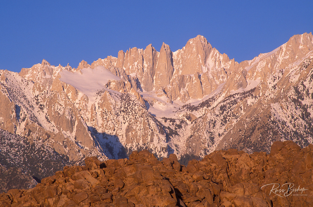 Morning light on Mount Whitney from the Alabama Hills, Sequoia National Park, Sierra Nevada Mountains, California