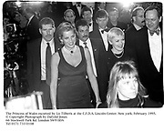 The Princess of Wales escorted by Liz Tilberis at the C.F.D.A. Lincoln Center. New York. February 1995.<br />