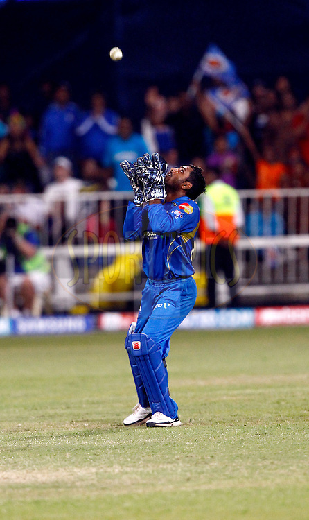 Ambati Rayudu of Mumbai Indians making the winning catch during match 15 of the Airtel CLT20 between The Mumbai Indians and the Royal Challengers Bangalore held at Kingsmead Stadium in Durban on the 19 September 2010..Photo by: Gerhard Duraan/SPORTZPICS/CLT20.