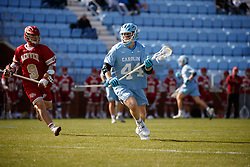 CHAPEL HILL, NC - MARCH 02: Henry Schertzinger #44 of the North Carolina Tar Heels during a game against the Denver Pioneers on March 02, 2019 at the UNC Lacrosse and Soccer Stadium in Chapel Hill, North Carolina. Denver won 12-10. (Photo by Peyton Williams/US Lacrosse)