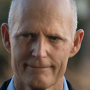THURSDAY, FEBRUARY 15- 2018---PARKLAND, FLORIDA--<br /> Florida Governor Rick Scott about to answer questions from reporter near Marjory Stoneman Douglass High School one day after a mass shooting with 17 casualties.<br /> (Photo by Angel Valentin/FREELANCE)