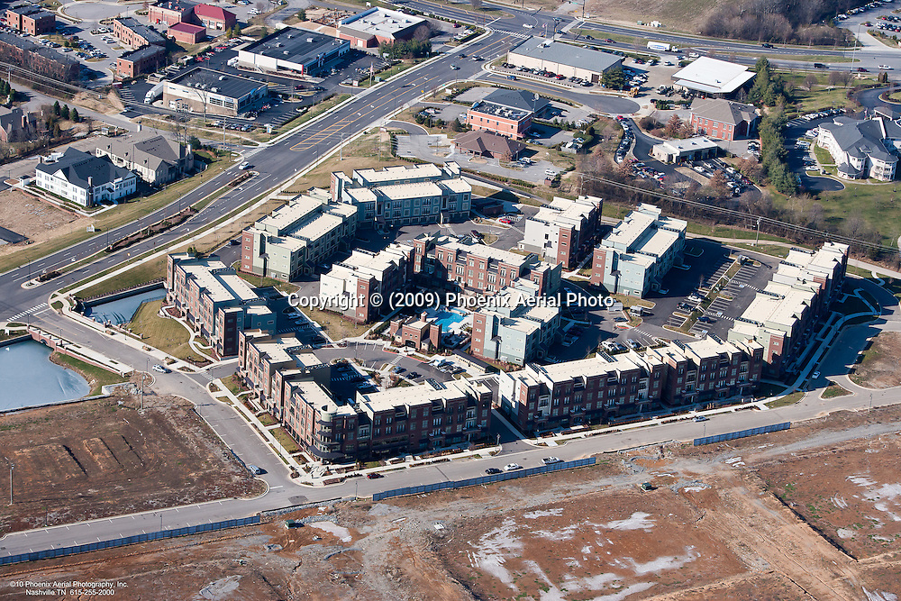 Aerial photo of the Dwell at McEwen apartments in the Cool Springs area of Franklin Tennessee.