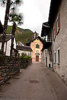Ticino, Southern Switzerland. Avegno.  The church at the end of a narrow street.