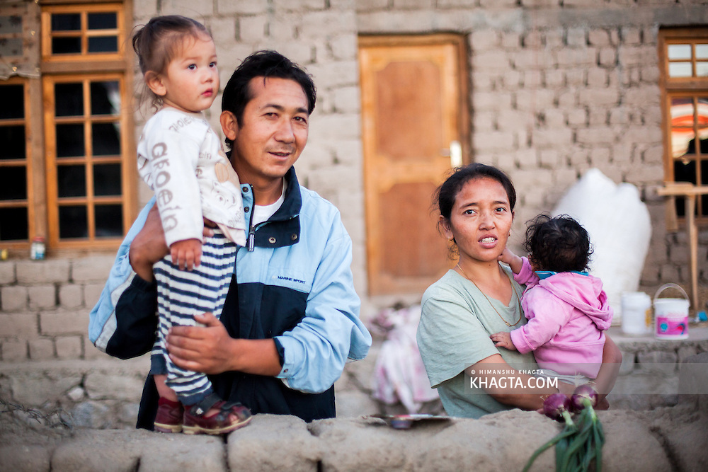 A family of Shey, Ladakh. Shey was the ancient capital of Ladakh, a Himalayan desert region in the North of India