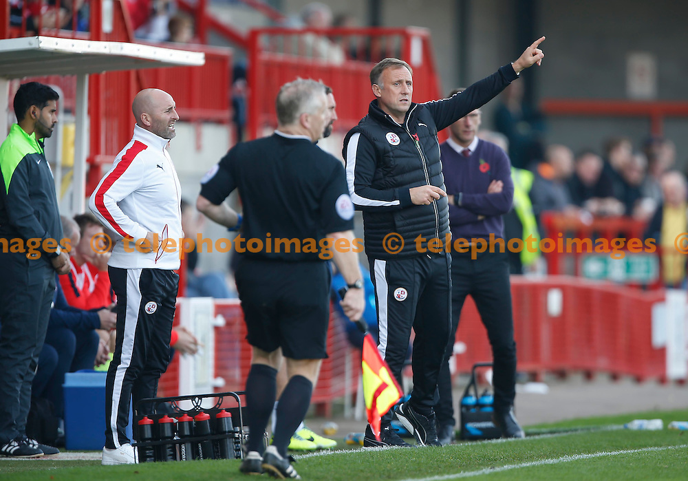 Crawley&rsquo;s Manager Mark Yates gestures to his players during the Sky Bet League 2 match between Crawley Town and York City at the Checkatrade.com Stadium in Crawley. October 31, 2015.<br /> James Boardman / Telephoto Images<br /> +44 7967 642437