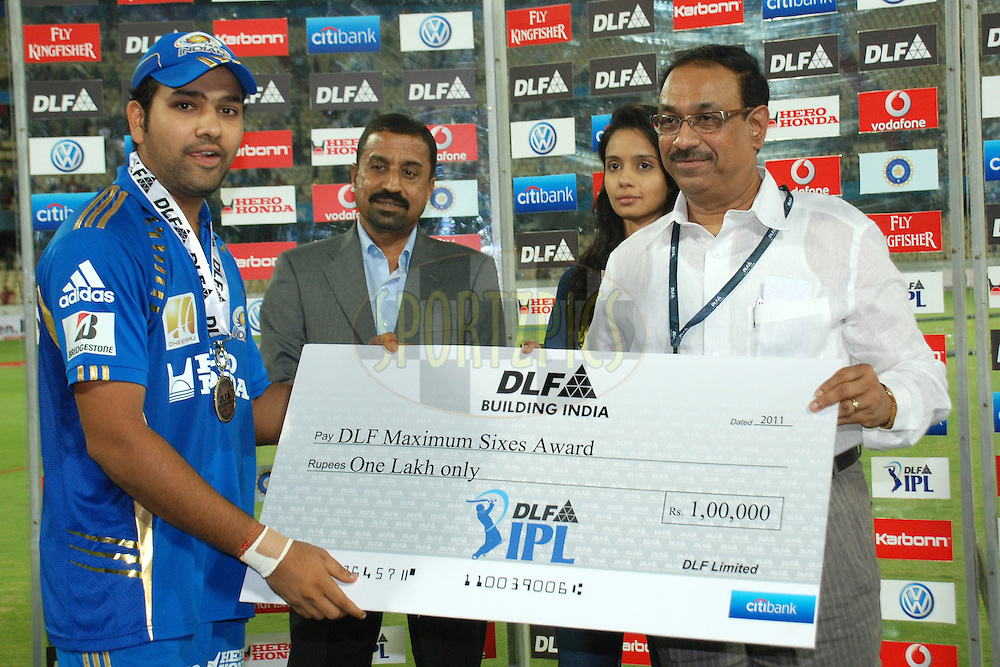 Rahit Sharma(L) reciving DLF maximum six award during match 27 of the Indian Premier League ( IPL ) between the Deccan Chargers and the Mumbai Indians held at the Rajiv Gandhi International Cricket Stadium in Hyderabad on the 24th April 2011..Photo by Saikat Das/BCCI/SPORTZPICS
