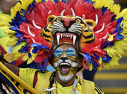 KAZAN, June 24, 2018  A fan of Colombia cheers prior to the 2018 FIFA World Cup Group H match between Poland and Colombia in Kazan, Russia, June 24, 2018. (Credit Image: © He Canling/Xinhua via ZUMA Wire)