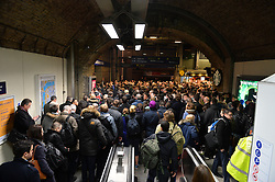 Commuters queue at Waterloo Station underground entrance after worker's strikes delay the opening of the tube service in London.<br /> Wednesday, 5th February 2014. Picture by Ben Stevens / i-Images