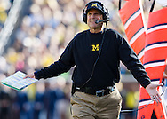 Oct 10, 2015; Ann Arbor, MI, USA; Michigan Wolverines head coach Jim Harbaugh reacts on the sideline in the first quarter against the Northwestern Wildcats at Michigan Stadium. Mandatory Credit: Rick Osentoski-USA TODAY Sports