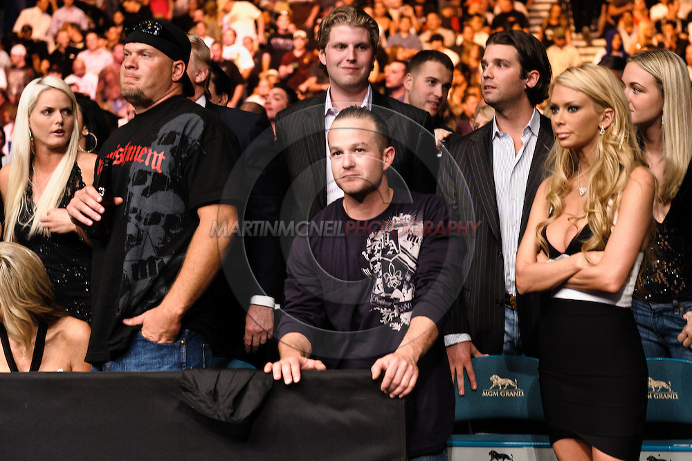 "LAS VEGAS, NEVADA, MAY 24, 2008: Tito Ortiz' entourage, including Tiffany Trump, Eric Trump, Donald Trump Jr. and Ortiz' wife, Jenna Jameson, await the official result from his fight during ""UFC 84: Ill Will"" inside the MGM Grand Garden Arena in Las Vegas"