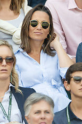 © Licensed to London News Pictures. 11/07/2018. London, UK. A pregnant Pippa Middleton watches court no.1 tennis at the Wimbledon Tennis Championships 2018, at the All England Lawn Tennis and Croquet Club. Photo credit: Ray Tang/LNP