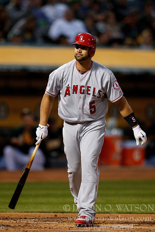 OAKLAND, CA - APRIL 04:  Albert Pujols #5 of the Los Angeles Angels of Anaheim reacts after striking out against the Oakland Athletics during the second inning at the Oakland Coliseum on April 4, 2017 in Oakland, California. The Los Angeles Angels of Anaheim defeated the Oakland Athletics 7-6. (Photo by Jason O. Watson/Getty Images) *** Local Caption *** Albert Pujols