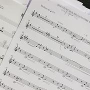 NLD/Hilversum/20130930 - Repetitie Metropole Orkest voor concert, muziekstuk, noten, muzieknoten