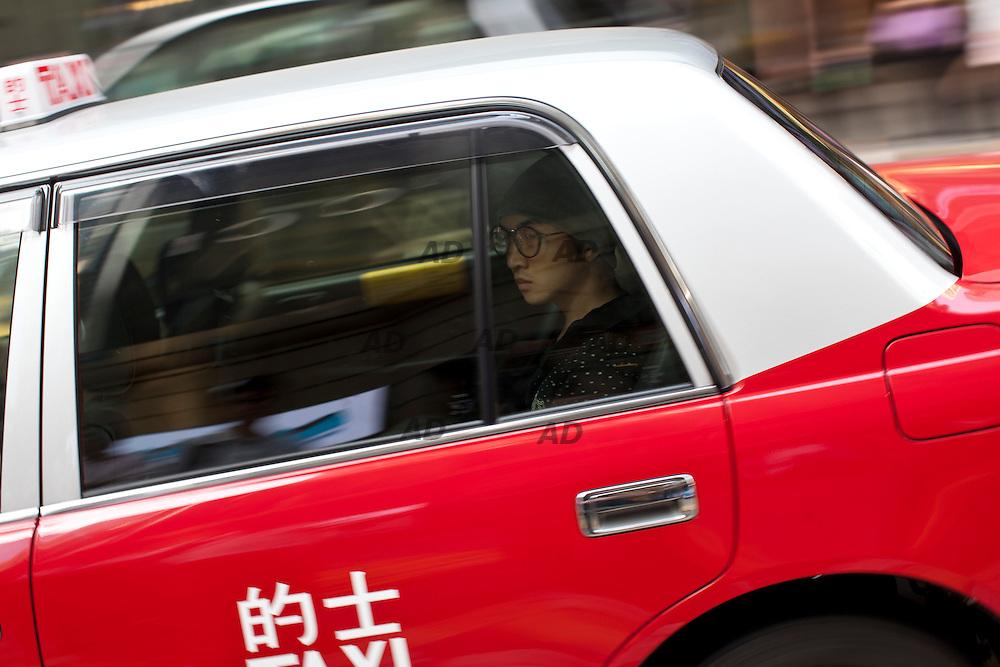 In a cab.