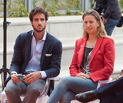 Fernando Verdasco and Victoria Azarenka during the presentation of the Mutua Madrid Open tournament, Madrid. Spain, on 02 May 2013, 03 May 2013. Photo by: Belen D. / DyD Fotografos / i-Images...SPAIN OUT