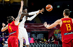 Dennis Schroder of Germany vs Ricky Rubio of Spain and Marc Gasol of Spain during basketball match between National Teams of Germany and Spain at Day 13 in Round of 16 of the FIBA EuroBasket 2017 at Sinan Erdem Dome in Istanbul, Turkey on September 12, 2017. Photo by Vid Ponikvar / Sportida