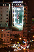 Billboard with a real lifesize Ford Focus suspended vertically at one wall of Oscar Hotel.