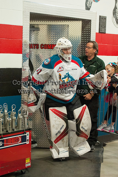 KELOWNA, CANADA - FEBRUARY 22: Brodan Salmond #31 of the Kelowna Rockets exits the dressing room for the ice against the Edmonton Oil Kings on February 22, 2017 at Prospera Place in Kelowna, British Columbia, Canada.  (Photo by Marissa Baecker/Shoot the Breeze)  *** Local Caption ***