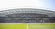 Teams line up during the Sky Bet Championship match between Brighton and Hove Albion and Burnley at the American Express Community Stadium, Brighton and Hove, England on 2 April 2016. Photo by Phil Duncan.